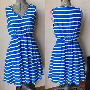 Light blue striped vneck cinched waist dress
